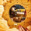 Makramowe lustro - kolor musztardowy