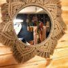 Makramowe lustro - kolor piaskowy